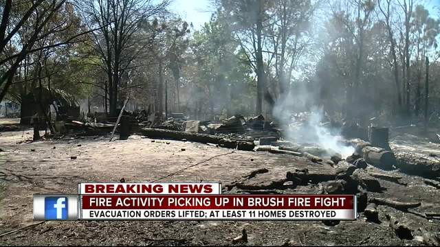 Homes destroyed- properties damaged after brush fire