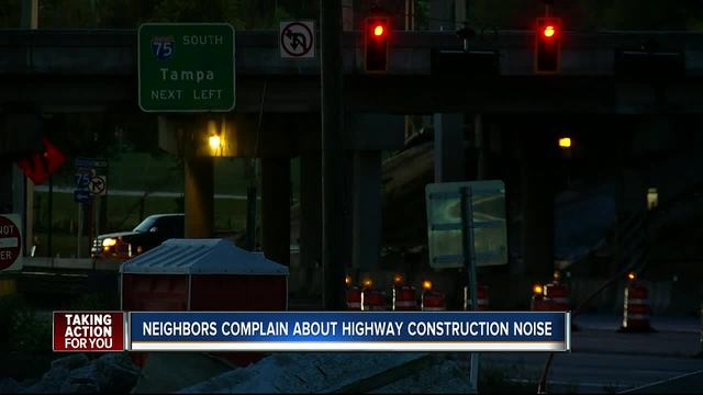 Neighbors frustrated about noise from I-75 construction site