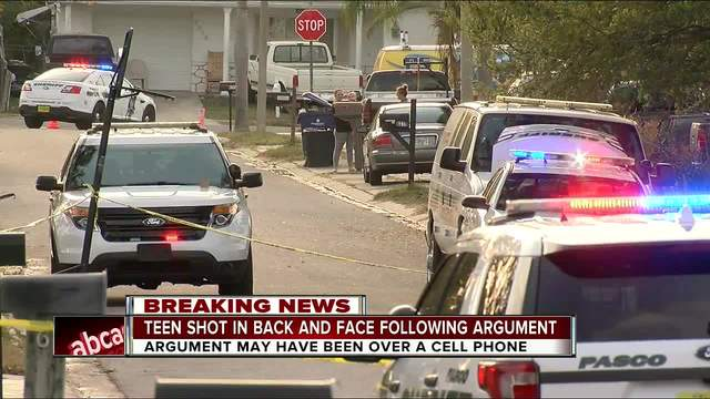 Teen shot in back and face following argument