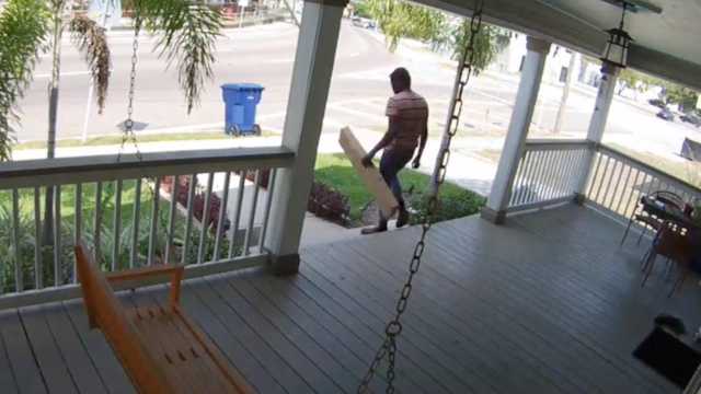 A Tampa Heights homeowner says this man was captured on home surveillance  cameras stealing a package off her porch. - Tampa Homeowner Captures Brazen Mail Theft On Surveillance Camera