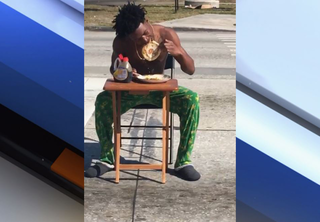 Man charged after eating pancakes in roadway
