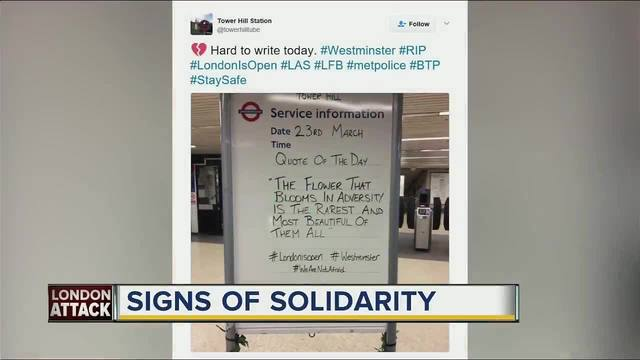Inspiring messages appear at London Underground subway stations after attack