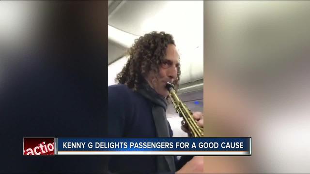 Saxophonist Kenny G plays on Tampa to LA Flight