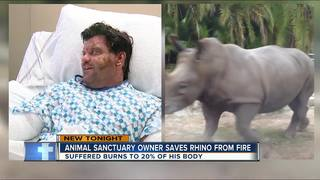 Animal sanctuary owner saves rhino from fire