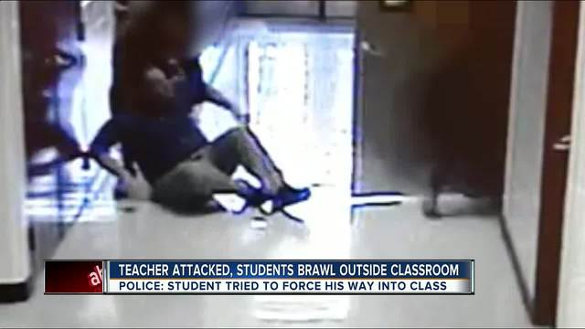 Teacher attacked- students brawl outside classroom