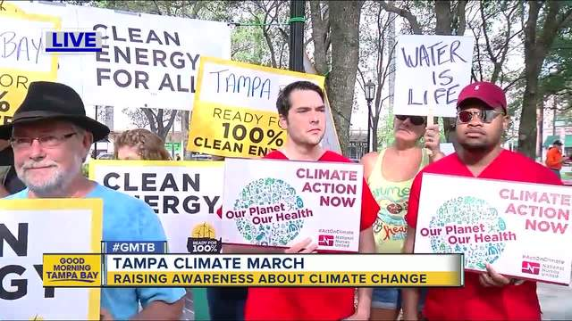 Climate march, rally underway downtown Tampa