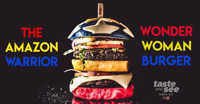 Fight evil in Tampa with this -Wonder Woman- burger from Datz