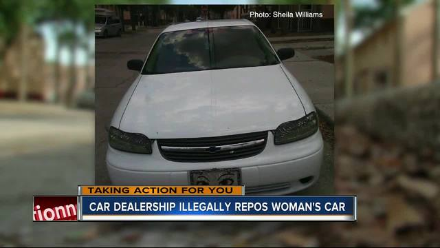 car dealership illegally repos woman 39 s car wfts tv. Black Bedroom Furniture Sets. Home Design Ideas