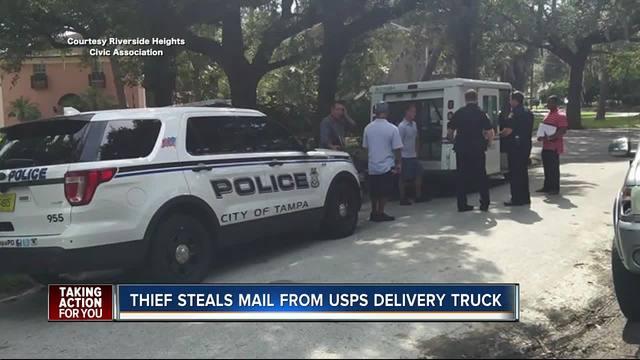 U-S- Postal Service mail truck burglarized in Riverside Heights