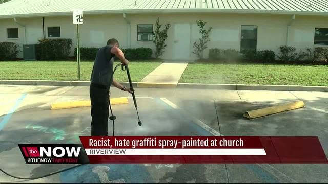 Riverview church vandalized with swastikas- racist graffiti