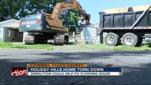 Pasco home demolished to fix flooding problems