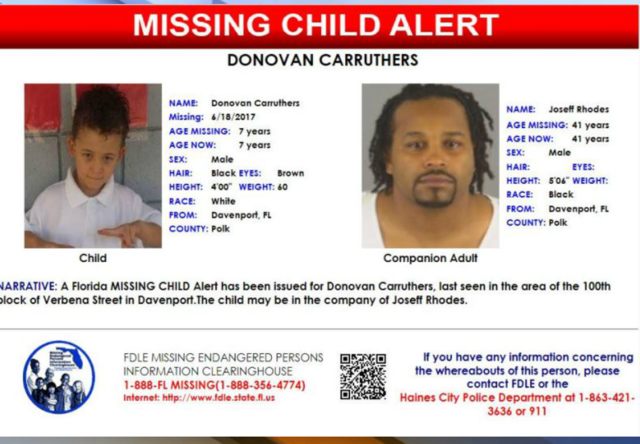 FL Missing Child Alert: 7YO boy from Davenport
