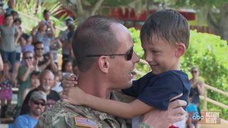 Emotional military reunion at Legoland