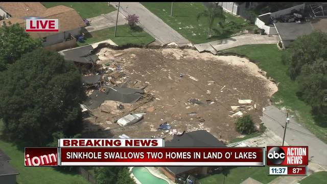People evacuated as huge sinkhole swallows homes in Florida