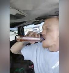 Drinking man speeds down beach on Facebook Live