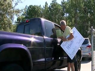 Residents protest homeless shelter location