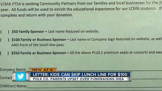 PTSA letter says kids can skip lunch line for $100