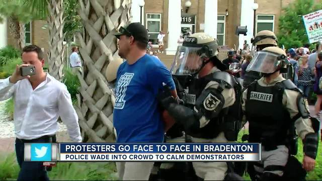 3 arrested during dueling protests in Bradenton