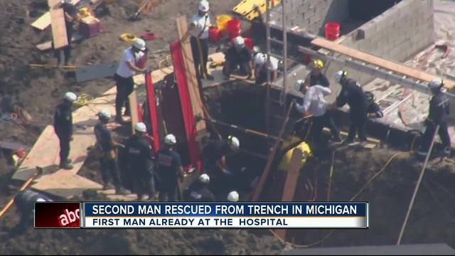 2 men trapped in collapsed trench rescued
