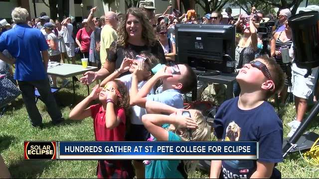 Hundreds gather at St- Pete College for eclipse