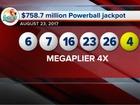 One winning $758.7 million Powerball ticket sold
