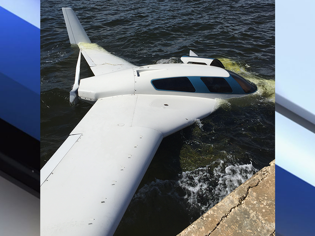 Plane goes off runway, into water