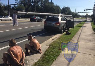 FL men caught stealing utility power pole