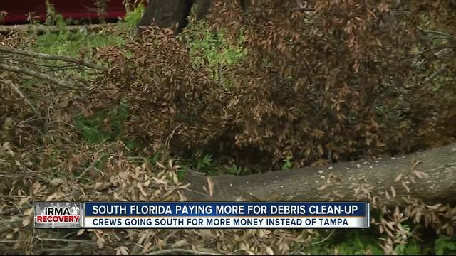 Debris pickup trucks ditch Tampa for south Florida