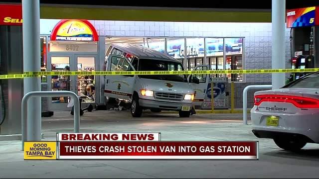 Thieves crash stolen van into gas station in Tampa
