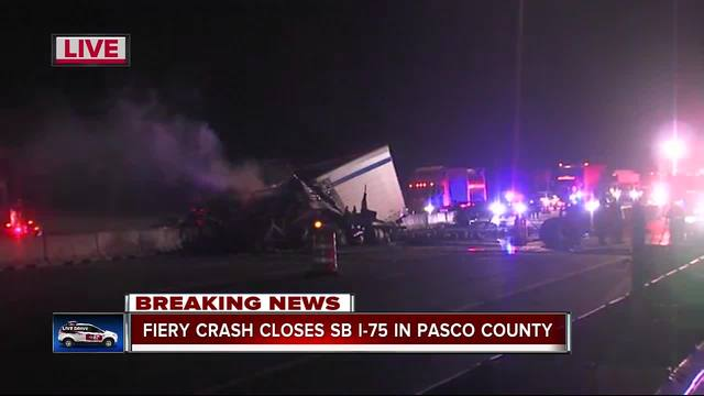 All lanes of I-75 SB at SR 52 shut down after semi-truck catches fire