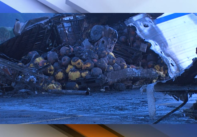 Semi full of pumpkins crashes, catches fire on Florida interstate