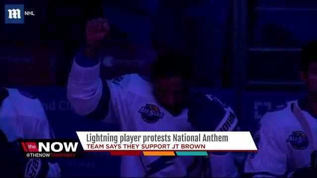 Lightning player protests National Anthem- the team says they support JT Brown