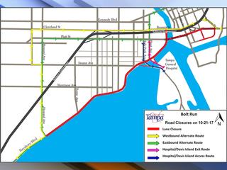 Annual Florida Hospital Bolt Run road closures