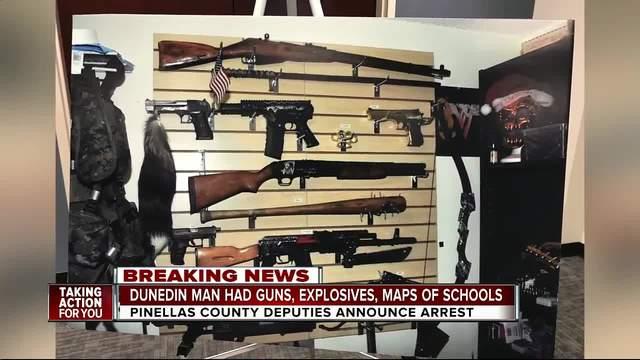 Dunedin man arrested after explosives-guns-school maps and more were…