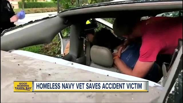 Homeless Florida veteran rushes to save victim after life-threatening car crash