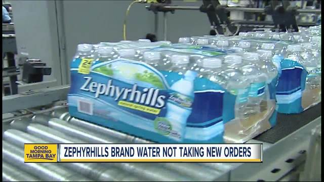 Zephyrhills brand water not processing new orders because of Hurricane Irma