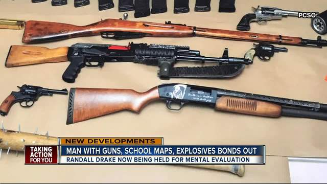 Man with guns- school maps and explosives in home bonds out