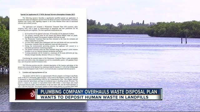 Plumbing company looking to treat human waste on farmland changes plans…