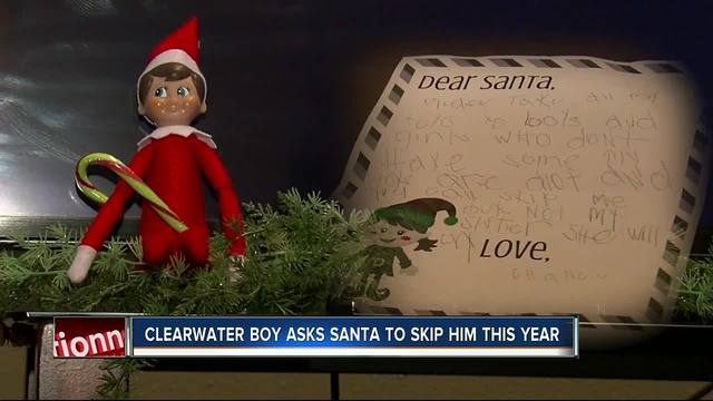6-year-old Clearwater boy asks Santa to skip him- give presents to kids…