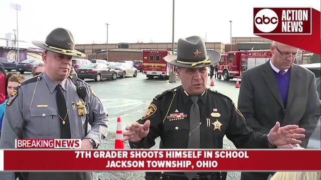 Seventh-grader shoots self at OH  middle school; no one else hurt