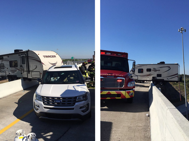 First Alert Traffic: Camper trailer hangs off I-275 overpass