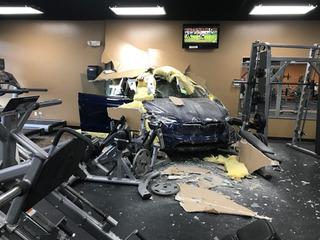 Tesla slams through wall of Florida gym
