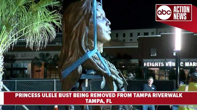 WATCH- Princess Ulele bust removed from Tampa Riverwalk