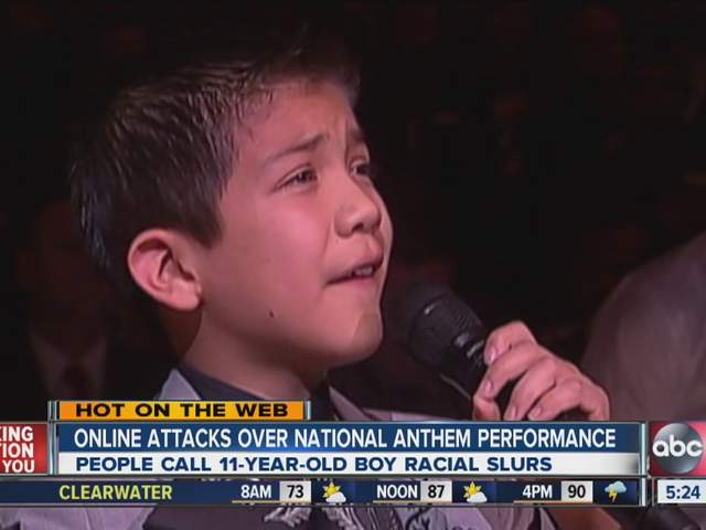 Mexican-American 11-year-old boy singing national anthem ...