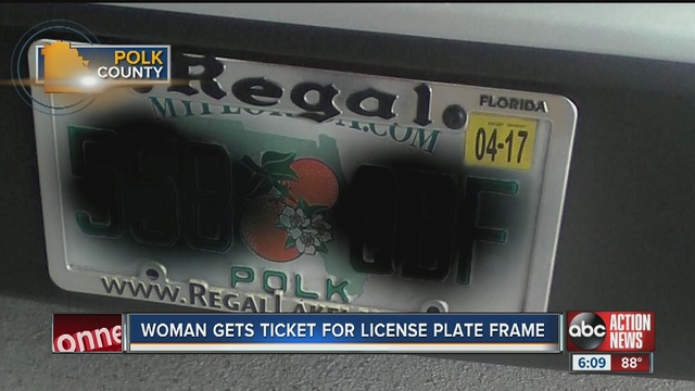 Lakeland woman receives ticket for license plate frame covering part ...