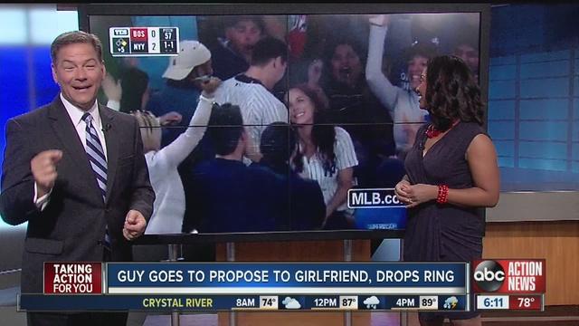 Fan Drops Ring During Televised Yankee Stadium Proposal