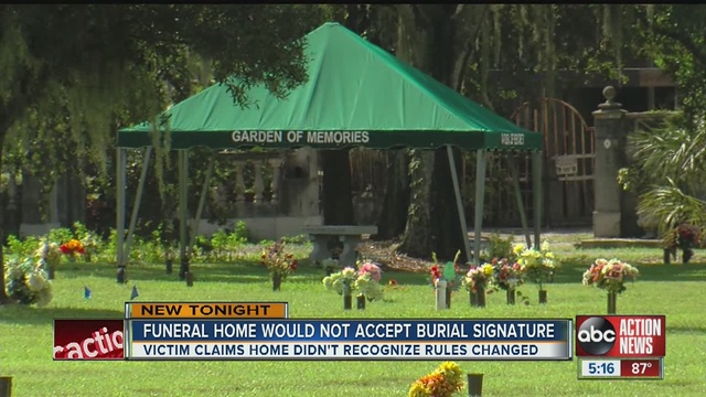 a tampa man says a local cemetery discriminated against him when he went to them in his time of need - Garden Of Memories Tampa
