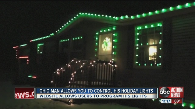 an ohio man has given control of his homes christmas lights to strangers online drawing responses from people as far away as australia and germany