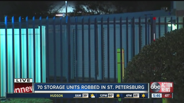 70 Storage Units Were Robbed In St. Petersburg And Police Are Investigating.