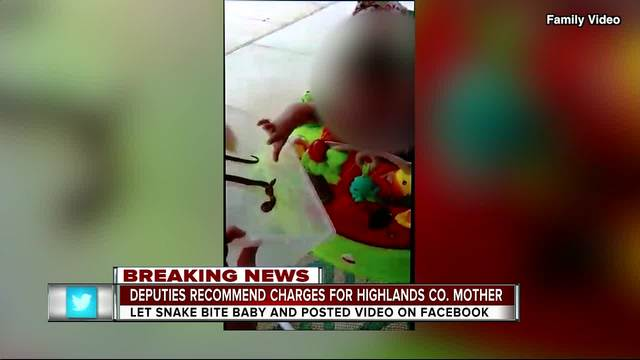 ... charge has been sent to the State Attorney's Office for a Highlands  county mother after she posted a video to Facebook showing her one-year-old  daughter ...